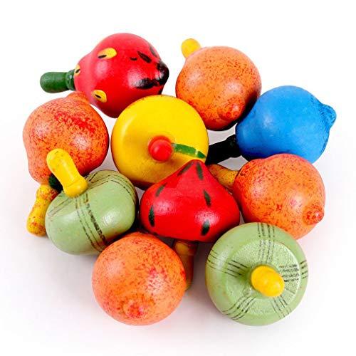 DIAMOEN Los niños educativos de Madera de Juguete de Frutas Gyro Spinning Peg Top Spinner