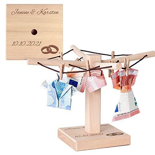 Geld und Foto Wäschespinne mit Gravur Hochzeit - Personalisiert mit [WUNSCHNAMEN] und [DATUM] - [MOTIV EHERINGE]