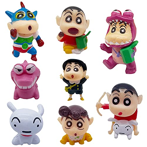 Cake Decoración - Hilloli 8pcs Anime Crayon Shin-Chan Mini Figura de Figuras de Mini Estatuas de Figuras Niños Mini Figura de cumpleaños Pastel Decoración Suministros Coche Decoración de Pasteles