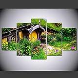 WLWIN Bild 150x80 cm/59.1'x31.5',4 Größen erhältlich,Bild auf Leinwand fertig gerahmte Bilder 5 Teile,Kunstdrucke, Wandbilder ,Leinwandbilder,Gartenhaus