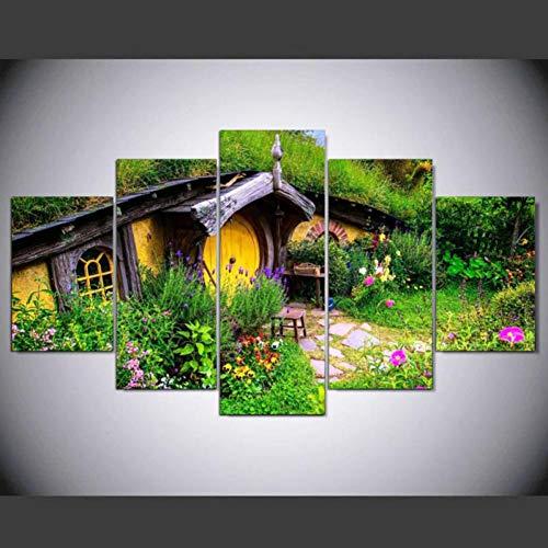 """WLWIN Bild 50X25 cm/19.7\""""x9.9\"""", 4 Größen erhältlich,Bild auf Leinwand fertig gerahmte Bilder 5 Teile,Kunstdrucke, Wandbilder ,Leinwandbilder,Gartenhaus"""