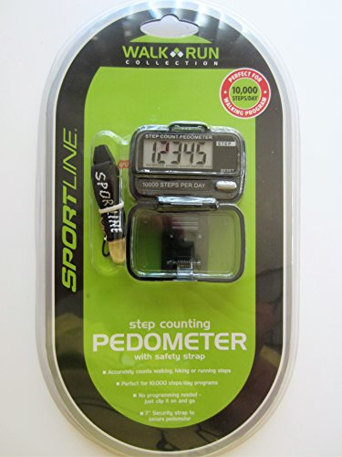 Sportline Step Counting Pedometer Walk Run Collection 10,000 Steps/Day - Model #: TG2793BK