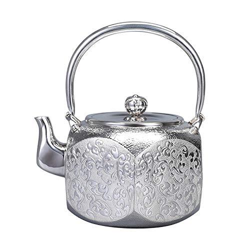 CRTTRC Plata Pot Burning Agua de té de Doble Uso de Kung Fu té té de Plata de la Plata esterlina 999 hogares de Plata Caldera