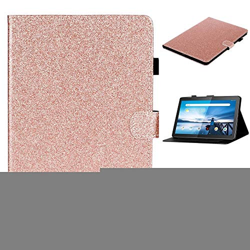 LISUONG MCDC AYDD para Lenovo Tab M10 TB-X605F / X505 Glitter Brillante Polvo Funda de Cuero Horizontal Flip con Soporte y Ranura para Tarjeta (Color : Rose Gold)