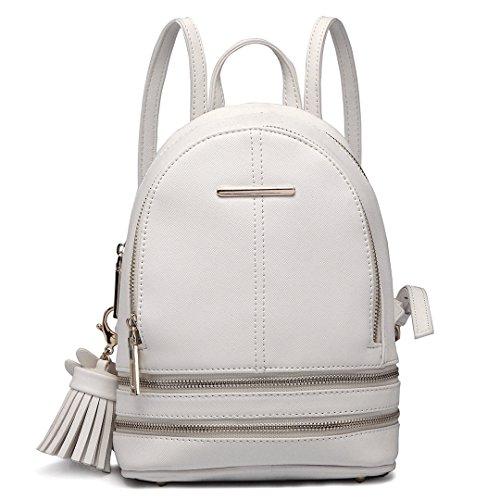 Miss Lulu Rucksack Daypack Damen Tasche Umhängetasche Rucksackhandtaschen Pu Leder Wasserdichte Schulrucksäcke Schultasche Kleine Geldbörse (Weiß)