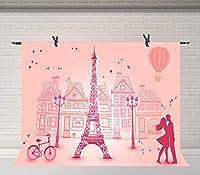 lovedomi 7x5ft ロマンチックなバレンタインデー漫画パリエッフェルタワーカップル熱風バルーン写真背景写真スタジオブース家族誕生日パーティースタジオ小道具写真ビニール素材