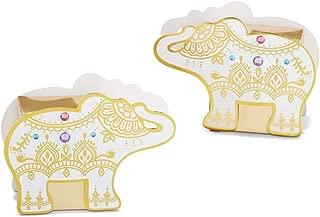Kate Aspen 28426NA Lucky Golden Elephant (Set of 12) Favor Box Set, 0, White & gold with pink, blue & purple rhinestones