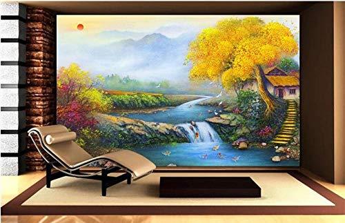 HDOUBR Benutzerdefinierte Tapete 3D Fototapeten den ganzen Weg Glück Glück Schatz Familie Feng Shui Malerei Wohnzimmer Schlafzimmer Wandbild Tapete, 200x140 cm (78.7 by 55.1 in)