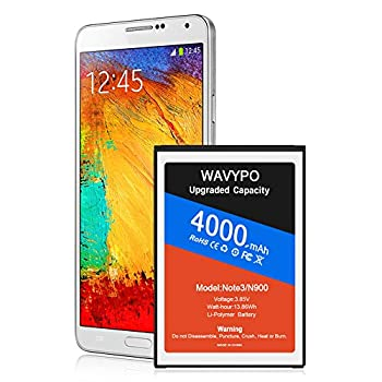 [4000mAh] Battery for Galaxy Note 3  Upgraded  Wavypo High Capacity Replacement Battery for Samsung Galaxy Note 3 [ N9000 N9005 N900A N900V N900P N900T ] Note 3 Spare Battery