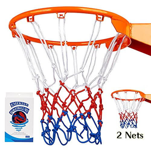 EMEKIAN Red & Blue Sports Basketball Net, Heavy Duty Polyester Basketball Net Replacement, Fits All Weather for Indoor/Outdoor, 12 Loops for Professional Standard Size, with Ball Needle, 1 PCS
