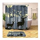 Beydodo Badezimmerteppich Set 2 Teilig 120x180 Duschvorhang Antischimmel Hirsche im Wald 40x60 cm Badematte Badewanne rutschfest