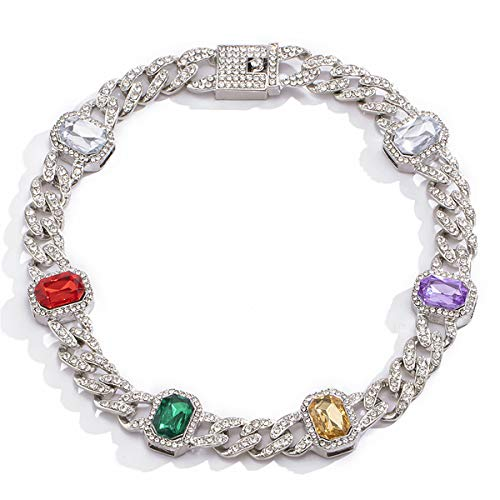Ingemark CZ Rhinestone Iecd Out Link Chain Choker for Women Girls Gorgeous Oval Birthstone Gem Choker Necklace (Multicolor)