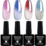 Allenbelle Smalto Semipermanente Camaleonte Nail Polish UV LED Gel Unghie (Kit di 4 pcs 7.3ML/pc) 013