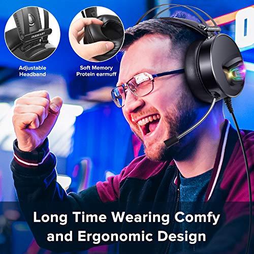Cuffie Gaming con Microfono, Cuffie da Gaming PS4 con Stereo HiFi/Cancellazione Attiva del Rumore, Auricolari Gaming PC con 3.5mm Jack/RGB LED/50 mm Driver per PC/PS4/Mac/Xbox One/Nintendo Switch