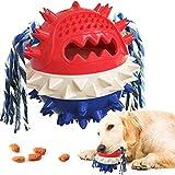 Yisscen Cepillos de Dientes para Perros, Juguetes Perro Masticar, Juego de Puzzle para Cachorro Juguetes Interactivos Pelota de Entrenamiento para Cachorros Cuidado Dental - Rojo Azul
