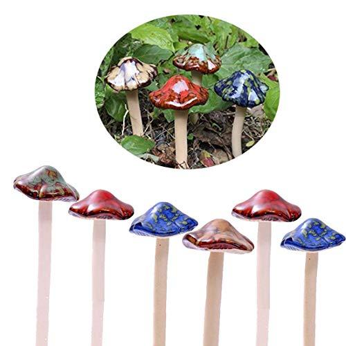 Envel - Colorati funghetti da giardino in ceramica, decorazione ornamentale per casa delle bambole fai da te e vasi di fiori, [4 colori, 6 pezzi]