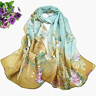 BEESCLOVER Women New Magpie Primula Printed Long Shade Shawl Scarf Wrap Chiffon Scarves Cover-Up Scarves Stole Wraps