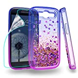Zingcon Compatible for Samsung Galaxy S3 Phone Case,S III I9300 Glitter Quicksand Case with HD Screen Protector,Shockproof Hybrid Hard PC Soft TPU Bling Adorable Shine Protective Cover-Blue/Purple
