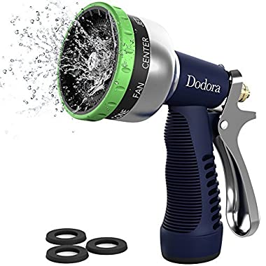 Dodora Garden Hose Nozzle Sprayer Heavy Duty Metal Spray Nozzle 9 Patterns High Pressure Hand Watering Nozzle Sprayer For Watering Plants, Cleaning, Car Wash and Showering Dog & Pets