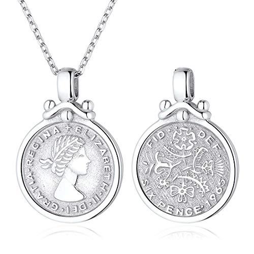 ChicSilver UK Queen Elizabeth Halskette für Frauen 925 Sterling Silber Münze Medaillon Six Pence Anhänger Boho Minimalist Schmuck …