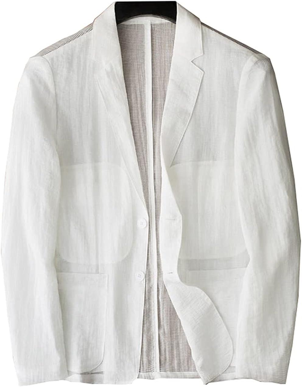 Suits for Men Slim Fit Tuxedo White Suit Sun Protection Linen