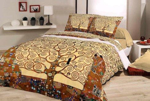 Unbekannt Bettwäsche Set 100% Baumwolle Deckenbezug 135x200 cm und Kissenhülle 80x80 cm. Klimt Der Lebensbaum
