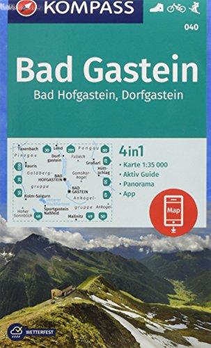 KOMPASS Wanderkarte Bad Gastein, Bad Hofgastein, Dorfgastein: 4in1 Wanderkarte 1:35000 mit Panorama und Aktiv Guide inklusive Karte zur offline ... Skitouren. (KOMPASS-Wanderkarten, Band 40)