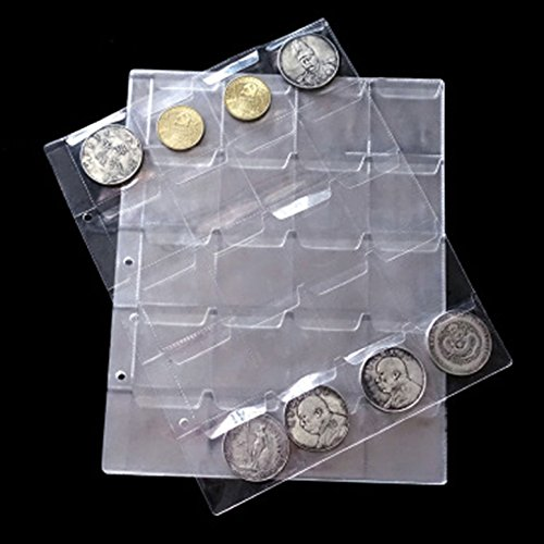 Epaler 5 Sheet 20 Pockets Plastic Coin Holders Storage Collection Money Album Case Stamp Currency Protector Insert Page…