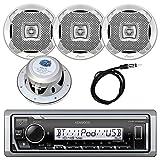 Kenwood InDash Marine Boat Bluetooth Digital USB AUX AM/FM Radio Stereo Player with 4X Lanzar 400...