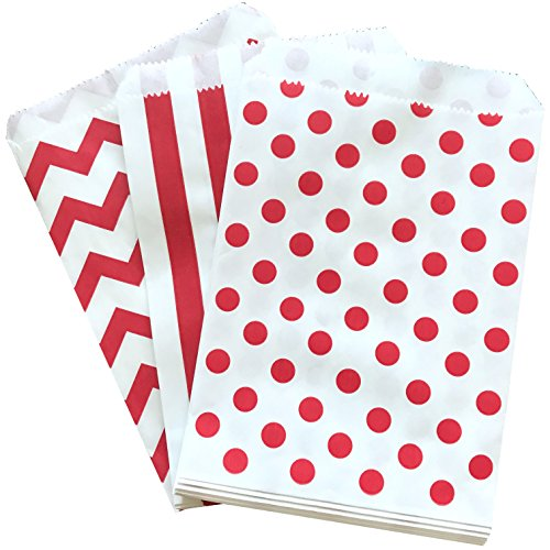 Red and White Stripe Chevron Dot Paper Treat Sacks - Favor Bags - 5.5 x 7.5 inches - 48 Pack