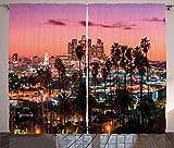 ABAKUHAUS Estados Unidos Cortinas, Los Ángeles Palms, Sala de Estar Dormitorio Cortinas Ventana Set de Dos Paños, 280 x 175 cm, Multicolor