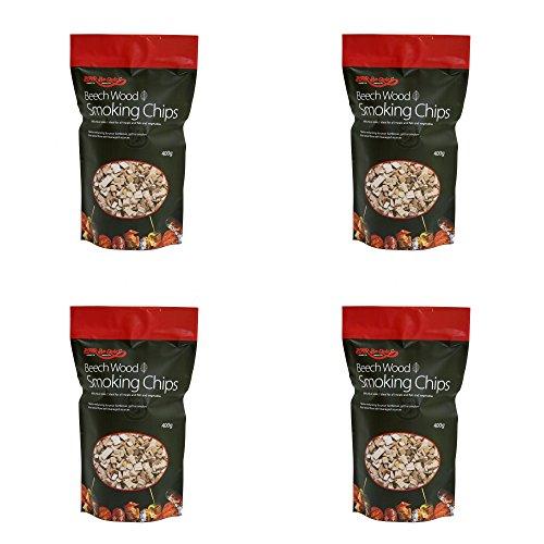 Holland Plastics Original Brand 4 x 400g Packungen zu Buche Smoking Chips - Geeignet für Gas oder Holzkohle-Grills