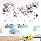 YLBHD PVC Flores Desmontables Pegatinas de Pared decoración de la Cama Jaula de pájaros decoración del hogar Vinilo Tatuajes de Pared para Dormitorio TV sofá