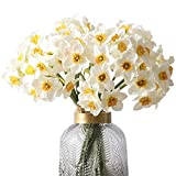 FagusHome 18 Stück Künstliche Narzissen Blumen Künstliche Blumen Blumensträuße 3 Trauben Faux Pflanzen für Dekor (Weiß)