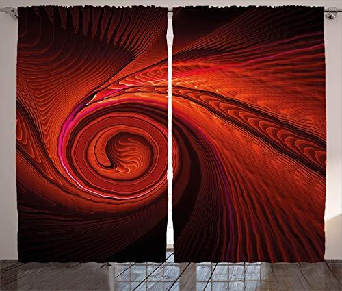 ABAKUHAUS Spiers Cortinas, Las Olas Arte Surrealista Espiral, Sala de Estar Dormitorio Cortinas Ventana Set de Dos Paños, 280 x 245 cm, Rojo