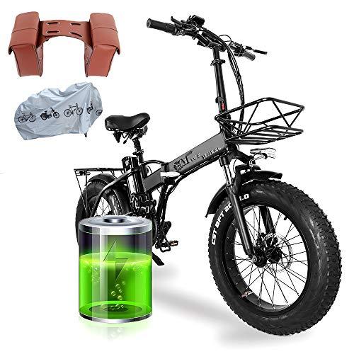 20 Pollici Bici Elettrica Pieghevole, Motore 750W Batteria Ion Litio 48V 15AH con 4.0 ruote fat e Accessori per E-bike(EU Warehouse)