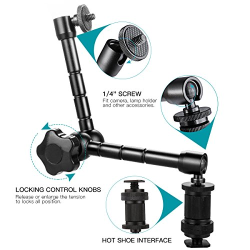 Sinvitron® 11 inch Magic Monitor Arm + Large Super Clamp Large Crab Pliers Clip for DSLR Rig Camera to Monitor LED Light