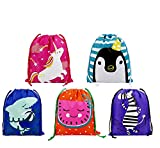 Party Favors Bags 10 Pack 5 Designs, Cartoon Gift Candy Drawstring Bags Pouch, Treat Goodie Bags Kids Girls Boys Birthday