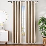 AmazonBasics - Juego de cortinas que no dejan pasar la luz, con ojales, 140 x 245 cm, Beige