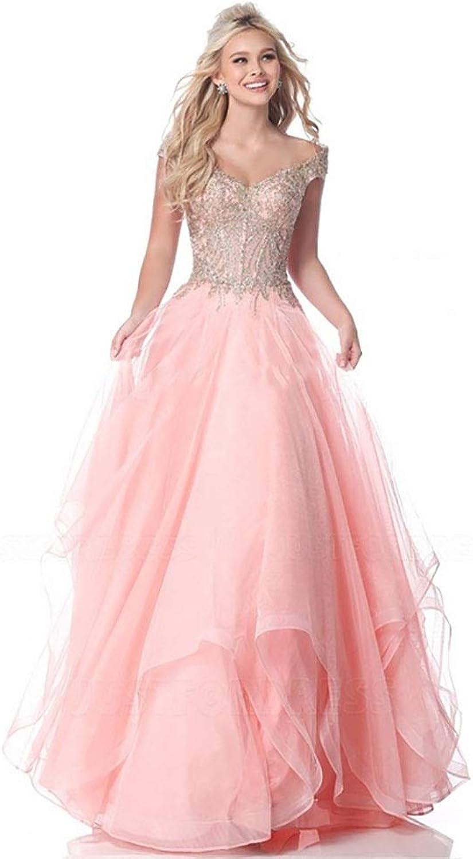 CG ALine Princess OffTheShoulder FloorLength Prom Dress with Beading E464GE571