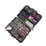 Carp Fishing Tackle Box Set, Clip De 131 Piezas De Plomo Saltar Anti Enredo De La Manguera No para La Pesca Al Aire Set con Caja De Aparejos Negro