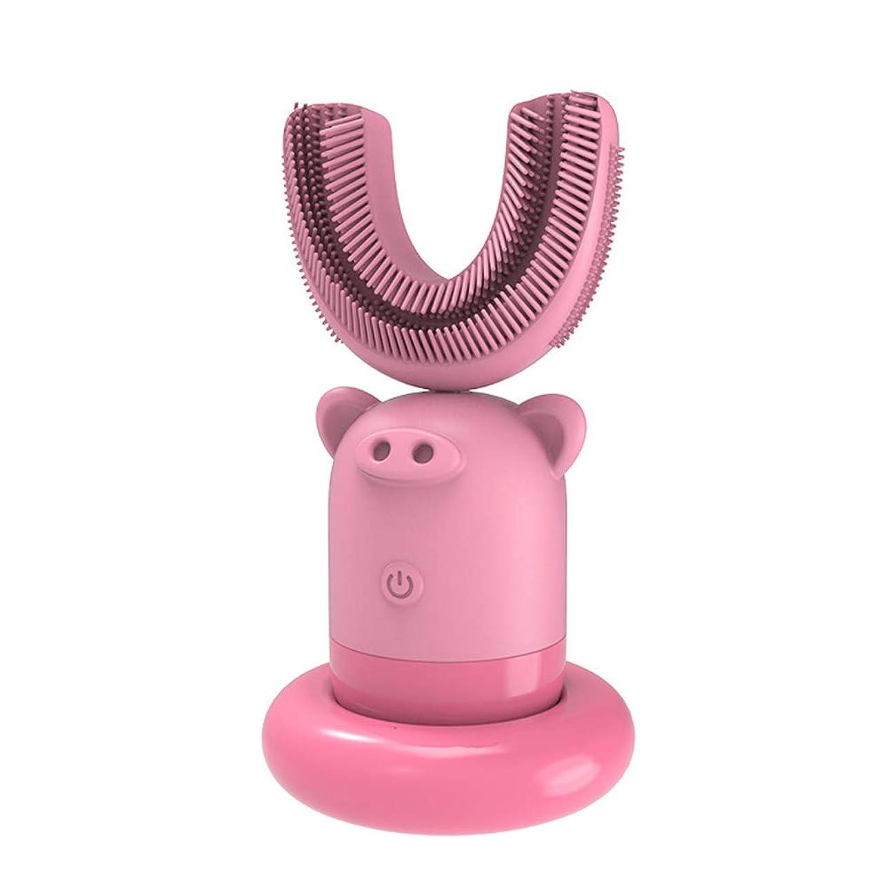待つフィードオンスズメバチフルオート超音波電動歯ブラシクリーン防水U型電動歯ブラシ充電スマート怠惰な歯ブラシキッズ用3-7年,Pink
