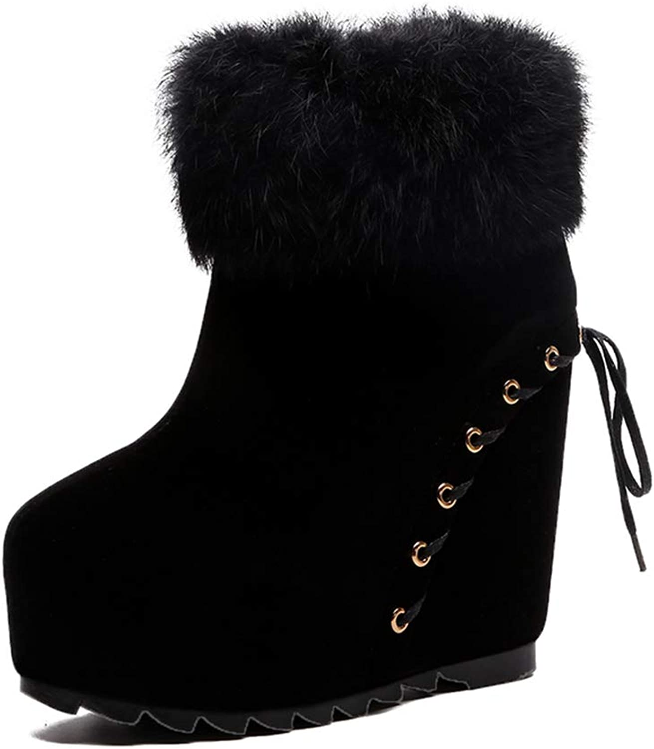 T-JULY Women's Back Lace up Wedges Ankle Boots Winter Super High Heels Platform Fur Snow Boots Warm shoes Booties