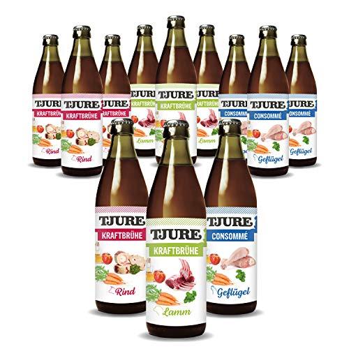 Tjure Kraftbrühe Rind - 10 + 2 Mixaktion (12 x 320 ml Flasche) - 4X Geflügel, 4X Rind und 4X Lamm