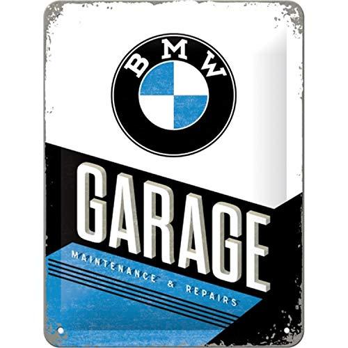 Nostalgic-Art Cartel de Chapa Retro BMW – Garage – Idea de Regalo para los Fans de los Accesorios de Coches, metálico, Diseño Vintage, 15 x 20 cm