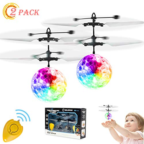 GALOPAR 2 Pack Flying Ball Toys, Rechargeable Ball Drone Light Up RC Toy for Kids Boys Girls Gifts, Infrared Induction Helicopter with Remote Controller for Indoor and Outdoor Games
