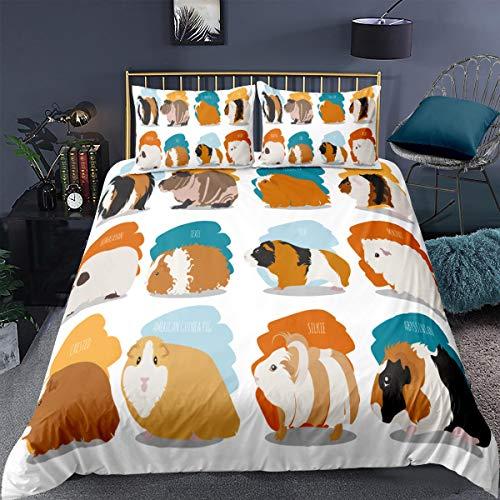 Loussiesd Guinea Pig Comforter Cover King Size Pet Theme Bedding Set Animal Print Decorative 3 Pcs Cute Lovely Duvet Cover Set Bright Orange Blue Bedspread Cover with 2 Pillowcase Zipper Lightweight