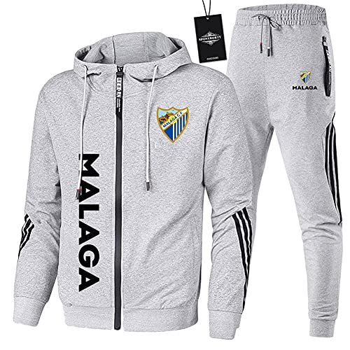 JesUsAvila de Los Hombres Chandal Conjunto Trotar Traje M.ála.ga.Club-Fútbol Hooded Zipper Chaqueta + Pantalones Deporte Sudadera Suéter Joggers/gray/XL
