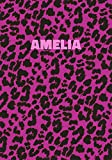 Amelia: Personalized Pink Leopard Print Notebook (Animal Skin Pattern). College Ruled (Lined) Journal for Notes, Diary, Journaling. Wild Cat Theme Design with Cheetah Fur Graphic