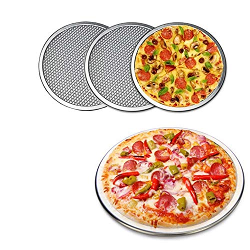 3 Packs Aluminum Alloy Pizza Pan with Holes, 19 Inch Commercial Grade Pizza / Baking Screen for Oven Round Pizza Crisper Tray Pizza Baking Tray for Home Restaurant, Seamless (19-Inch, Pack of 3)